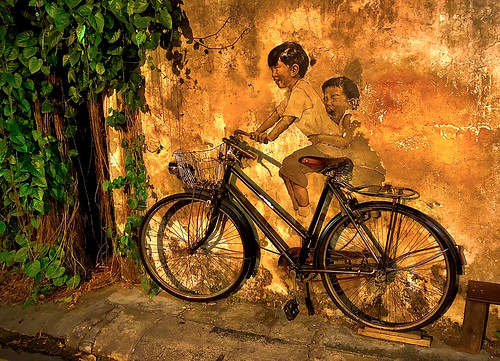 malaysia penang georgetown oldquarter streetart desimage desgould evening art fun shadows textures bike bicycle wall greenery
