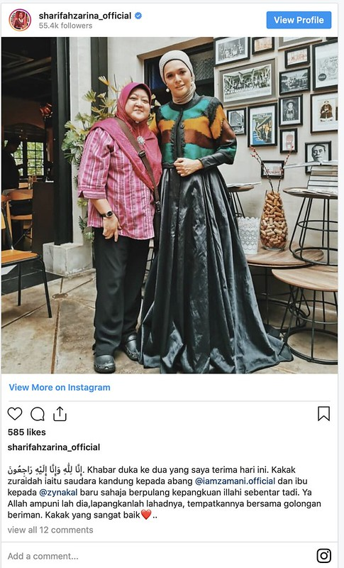 Kakak Zamani Slam, Ibu Zynakal  Meninggal Dunia
