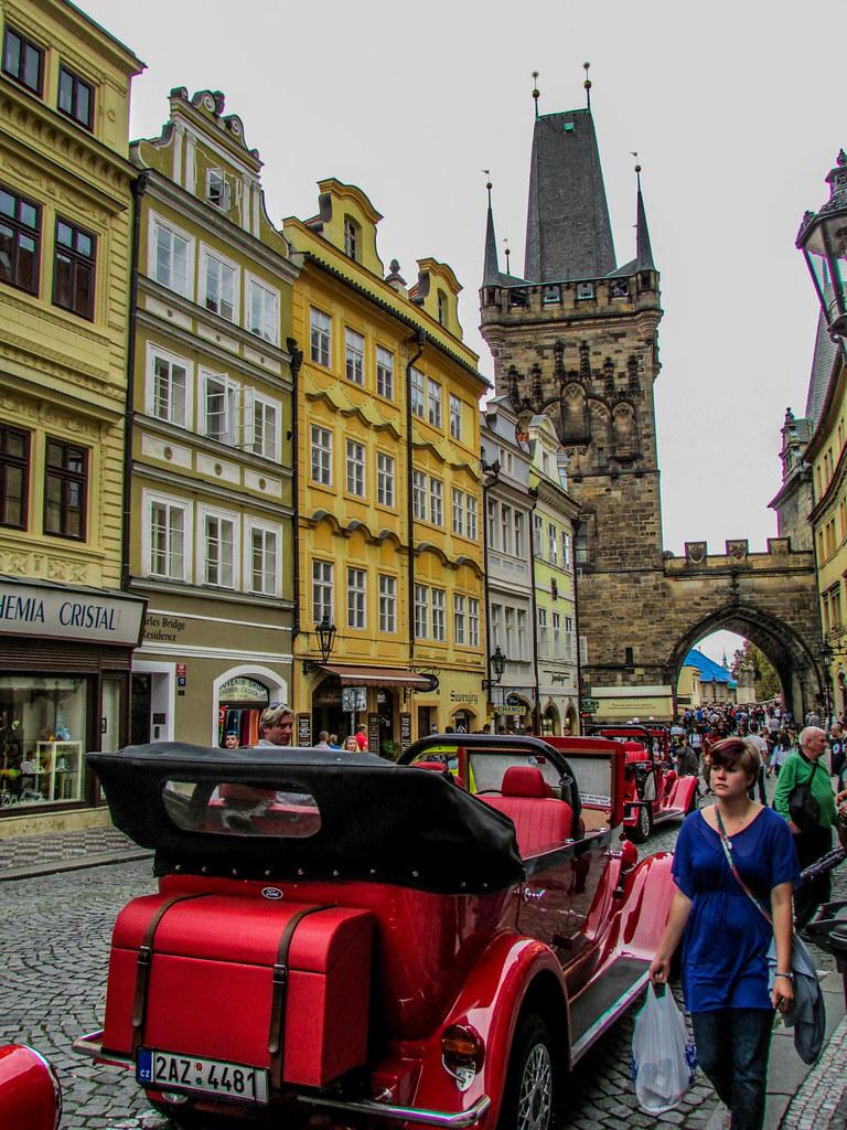A street scene in Prague, Czech Republic.