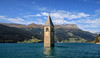 Lake Reschen Bell Tower in South Tyrol