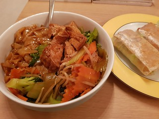 Ho Fun with Veggies and Tofu and Tofu Rice Paper Rolls from Pho Hung Vietnamese