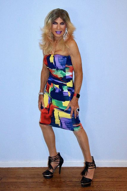 Cortney - Blonde in a Bold pattern Bandage Dress (Blue Purple Yellow, Black, Red)