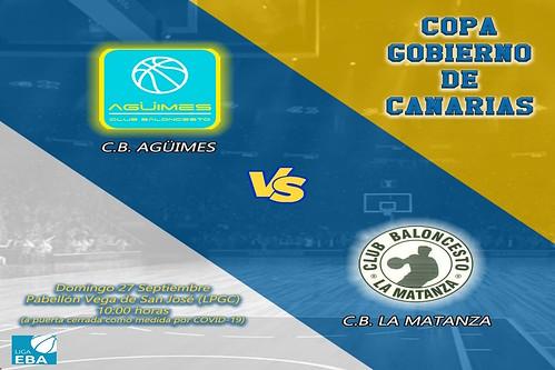 Cartel del partido entre el C.B. Agüimes y el C.B. Matanza