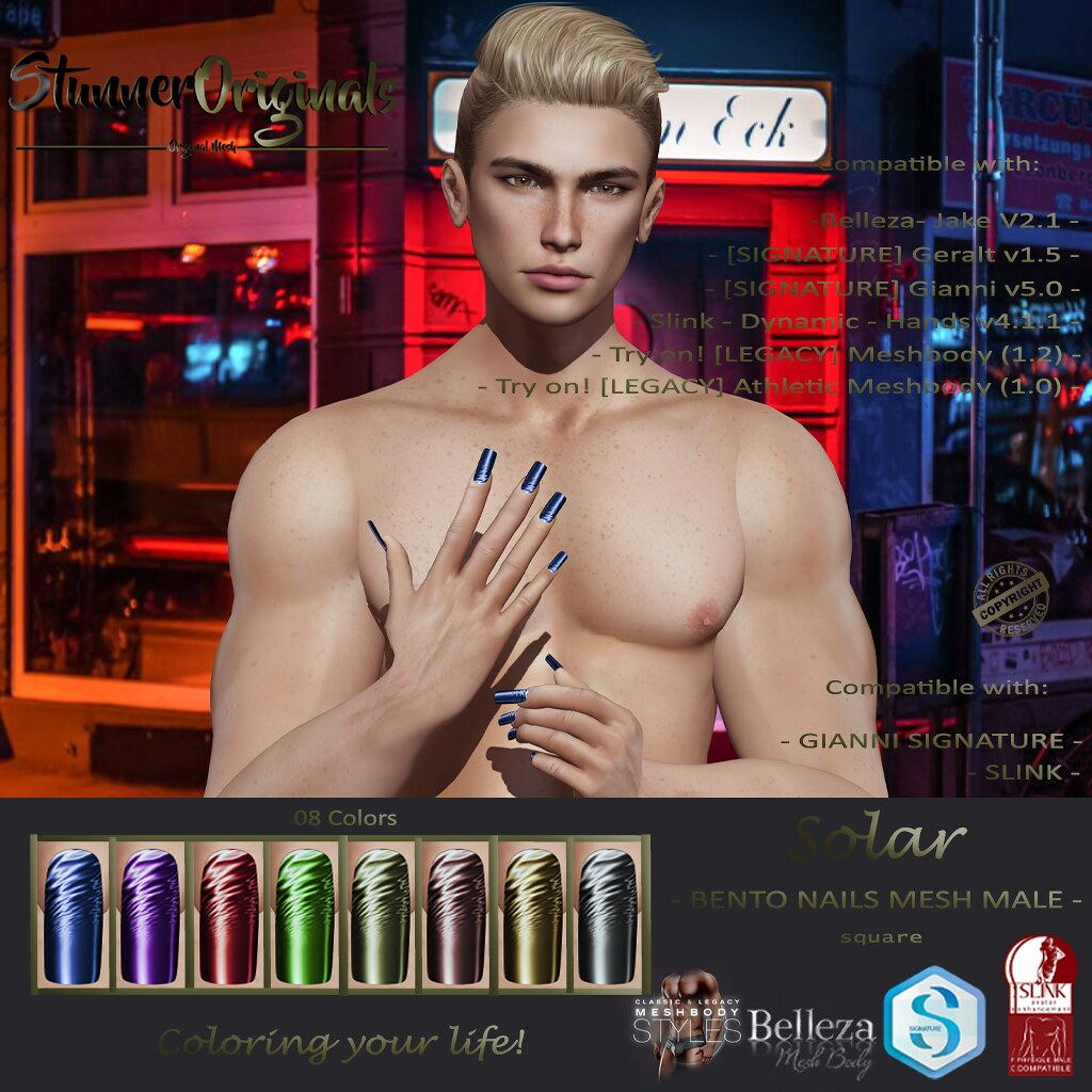 .:: StunnerOriginals ::. Bento Nails Mesh Male Square Solar