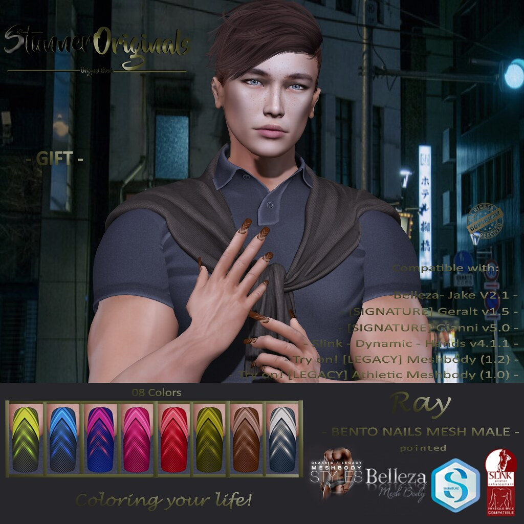 .:: SO ::. GIFT Bento Nails Mesh Male Square Ray