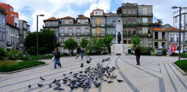 Alimentando palomas, Porto