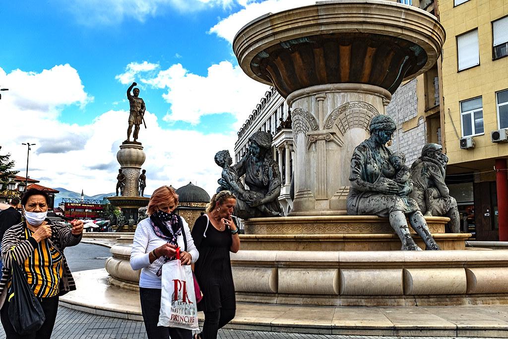 Mothers of Macedonia Fountain on 9-26-20--Skopje