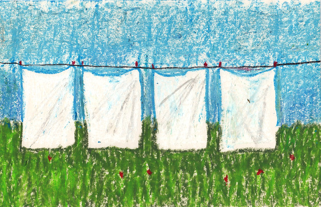 Wasgoed / sheets on the clothesline