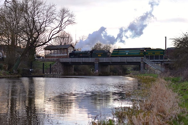 Southern Railway 'Schools Class' Locomotive No.926 'Repton' pilots Bulleid Pacific No34081 '92 Squadron' over the Nene into Wansford Station. Nene Vally Railway Southern Weekend. 10 03 2019
