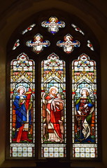 Christ the Good Shepherd as Charity flanked by Faith and Hope (Ward & Hughes, 1871)