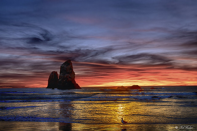 Sunset at Cannon Beach.