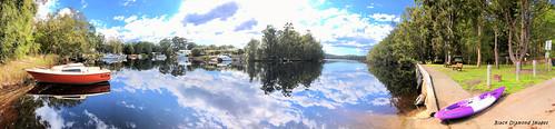 panorama lake clouds landscape boats australia nsw iphone cloudreflections myalllakes myalllakesnationalpark lakereflections midnorthcoast luminar iphonepanorama iphonex shotoniphone nerong skylum iphonexbackcamera appleiphonex iphonexpanorama luminar4 nerongvillage reflections