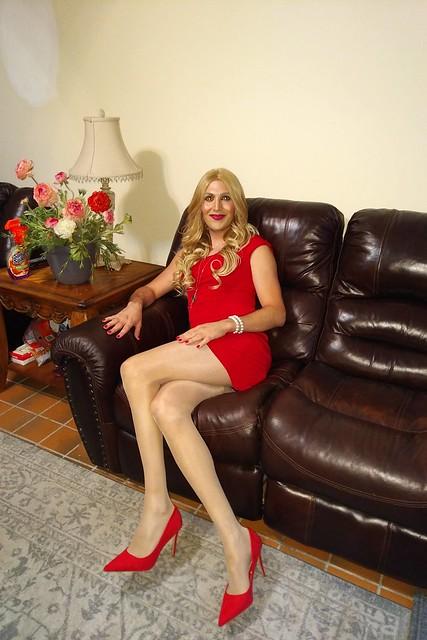 lady in red long legs