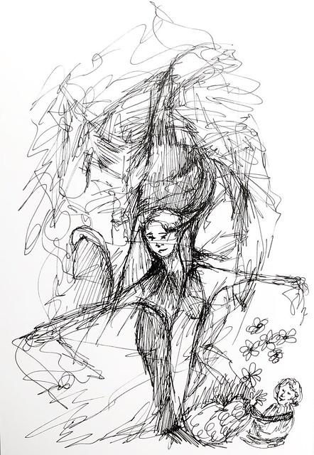 Flower Fairy #sketch #sketchbook #illustration #penandink #ink #progressive #scribbleart #art #graphicart #abstractart #nonsense #flower #fairy