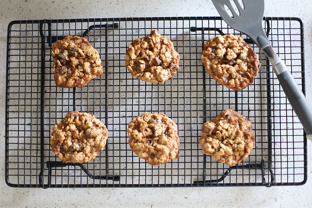Date-Walnut Oatmeal Cookies on a Wire Rack