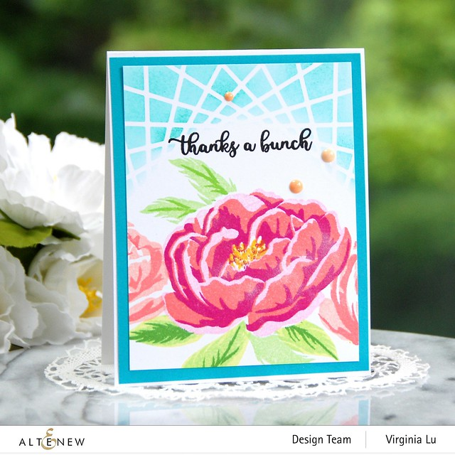 Altenew-BAF Peony-Layered Geo Cover Die Set A-Lagoon Card Stock