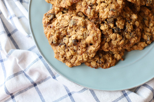 Close-Up of Date-Walnut Oatmeal Cookies