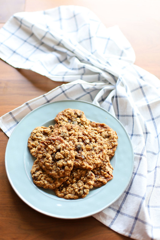 Date-Walnut Oatmeal Cookies Stacked on a Plate