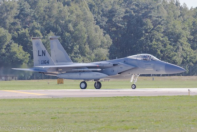 86-0164 - 1986 fiscal McDonnell Douglas F-15C Eagle, lining up for departure on Runway 24 at Lakenheath