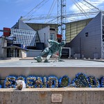 Memorials at the Tom Finney statue at Deepdale