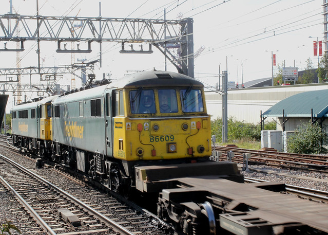 Freightliner . 86609 . Stratford Station , East London . Monday lunchtime 28th-September-2020 .