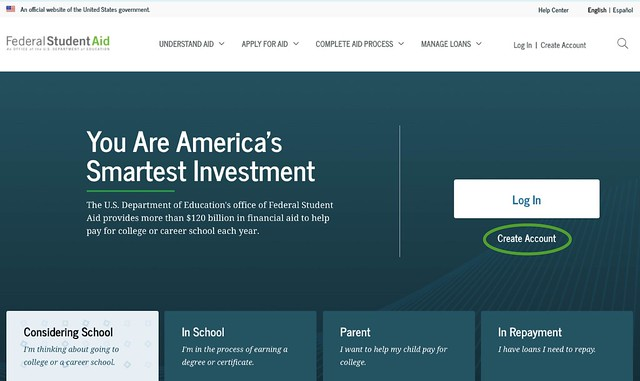 Landing page for studentaid.gov