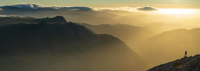Unsocial distancing. Langdale Pikes and Great Langdale from the Great Slab, Bowfell, Lake District.