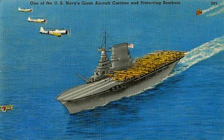 Vintage World War II Postcard - A U.S. Navy Aircraft Carrier With Protecting Bombers (NP1), Navy Airplane Series (5 Subjects), Made By Tichnor Brothers, Postmarked 1944 | by France1978