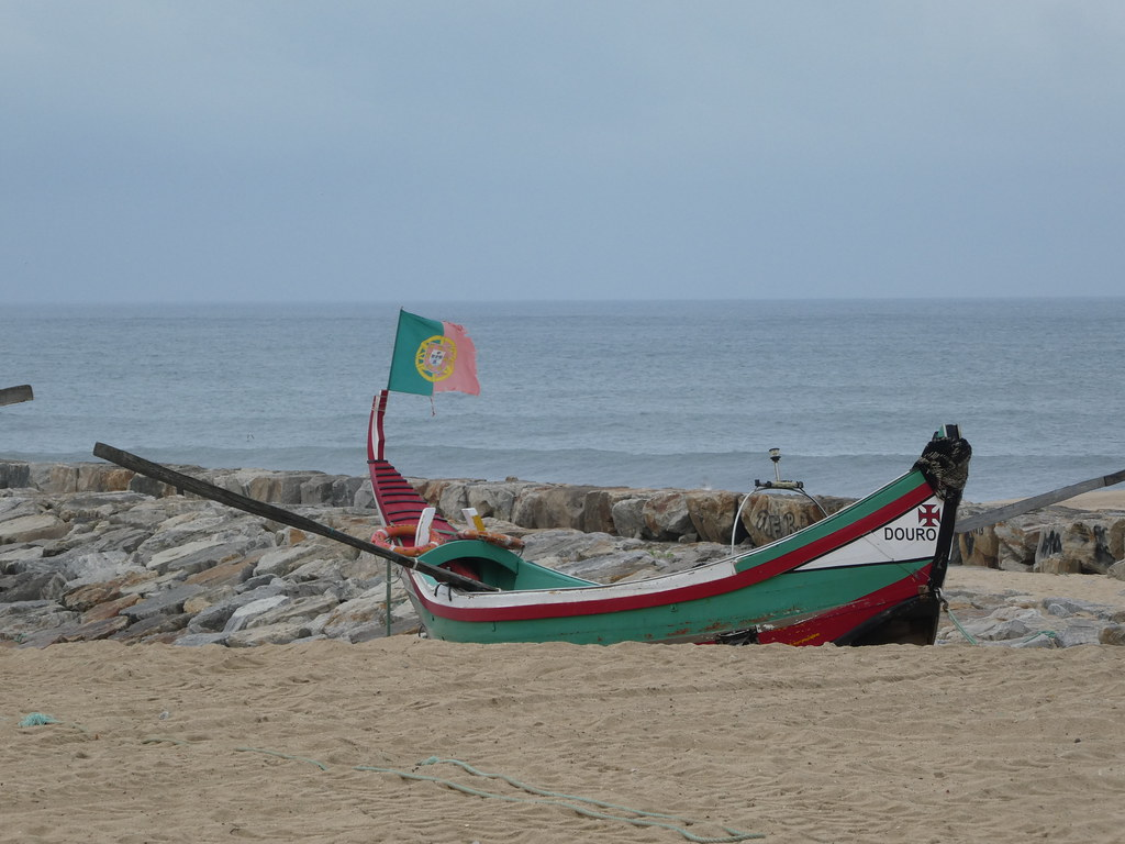 Colourful fishing boat at Espinho Portugal