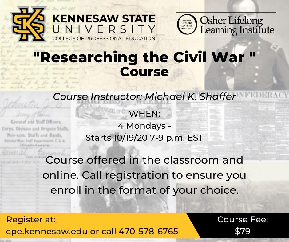 CIVIL WAR COURSES, LECTURES, ARTICLES, & TOURS - cover
