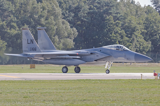86-0166 - 1986 fiscal McDonnell Douglas F-15C Eagle, lining up for departure on Runway 24 at Lakenheath
