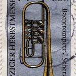 Sun, 2020-09-27 08:09 - Postage stamp - Leipzig Autumn Fair 1985 - Bach trumpet J. Scherzer - Issue value: 25 Pfennig (GDR 1985); Timbre-poste - Foire d'automne de Leipzig 1985 - trompette de Bach J.Scherzer - Valeur d'émission: 25 Pfennig (RDA 1985)