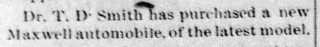 1906 - TD Smith buys Maxwell - fifth auto in town - Enquirer - 30 Aug 1906