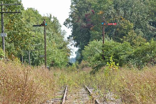 csxhoosiersubdivision abandonedrailroads railroadsignals semaphoresignals railroadtracks campellsburgindiana mononrailroad