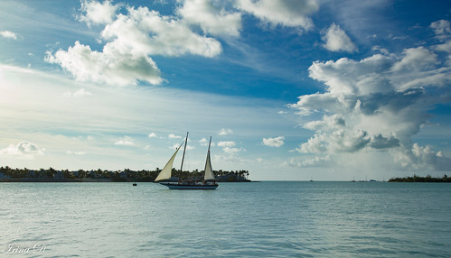 sky clouds blue white ship sailship sails water sea ocean horizon outside beautiful beauty landscape seascape nature tropics keywest florida travel 2020 vacation summer usa light reflections art digital old transportation canon