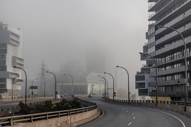 Foggy morning along Eastern Avenue