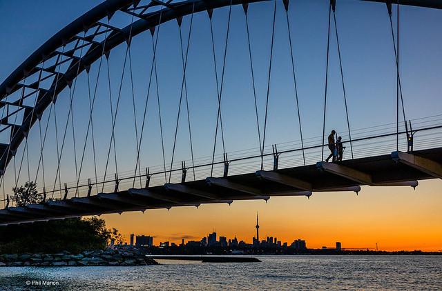 Sunrise from underneath Humber Bay Arch Bridge