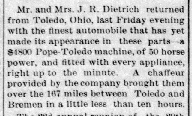 1907 - JR Dietrich buys Pope-Toledo - sixth auto in town - Enquirer - 5 Sep 1907