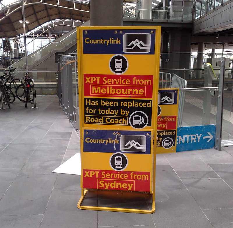 The XPT is bustituted - Southern Cross Station, September 2010