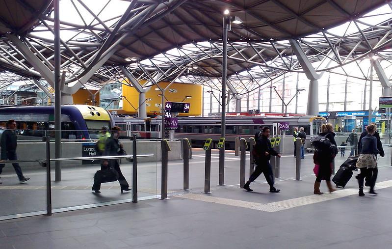 Myki readers at the V/Line platforms, Southern Cross Station, September 2010