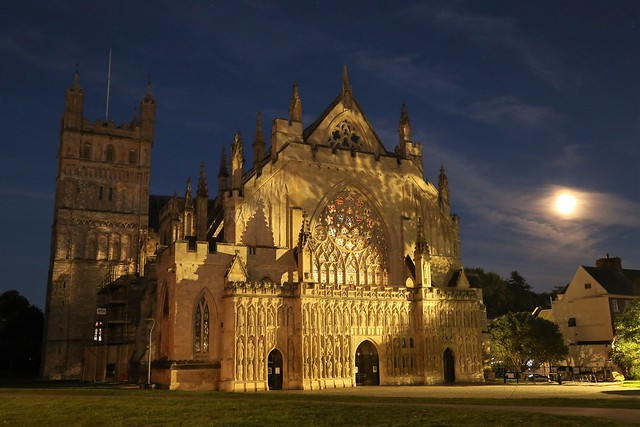Exeter Cathedral at dusk on Sunday evening