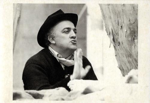 Federico Fellini at the set of Satyricon (1969)