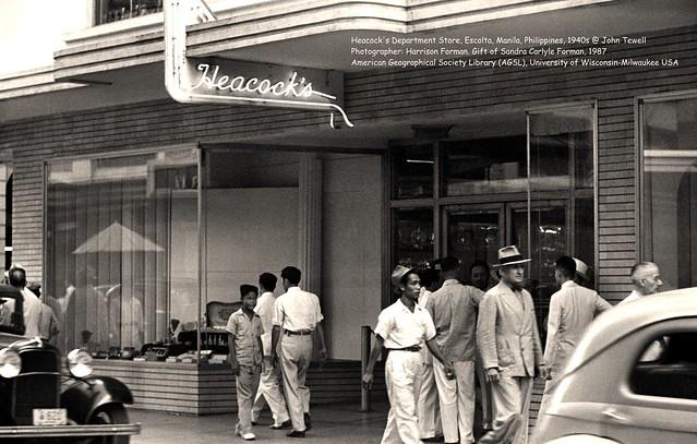 Heacock's department store, Escolta, Manila, Philippines, 1950s.