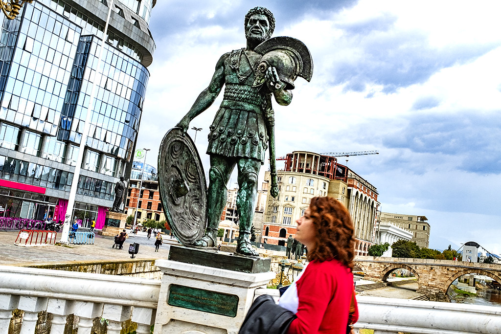 Woman on the Bridge of Civilizations in Macedonia on 9-28-20--Skopje