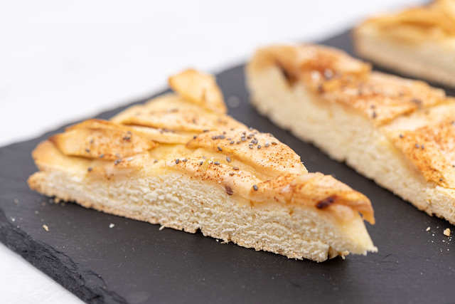 Sliced Apple Pie and served on the black stone tray