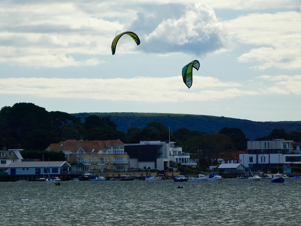 Kite surfing in Poole harbour