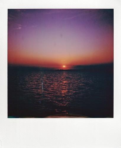 polaroid instant instantfilm pier sunset seadrift texas tx nature sea ocean