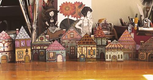woodcut houses. From Artist Spotlight: Kat VanderWeele, LimningHouse Illustration