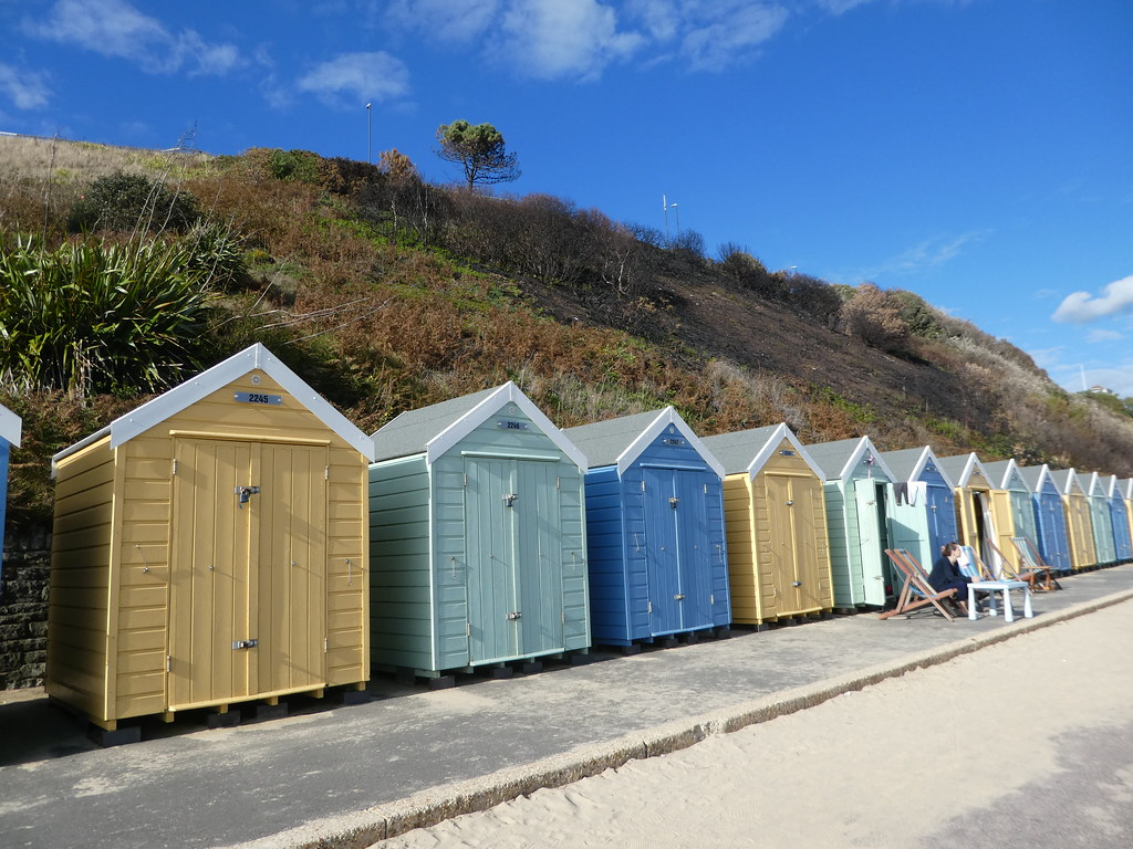 Pastel coloured beach huts on Bournemouth Beach
