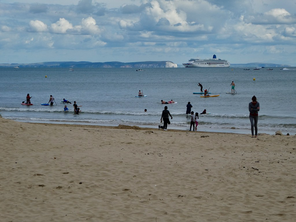 Views of the Isle of Wight from Bournemouth beach
